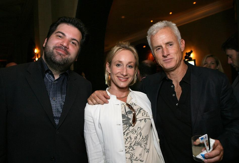 Vlad Wolynetz, Stephanie Sperber and John Slattery at the wrap party of AMC's